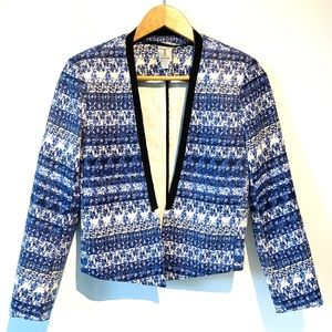 Tristan | icy blue and white floral open blazer
